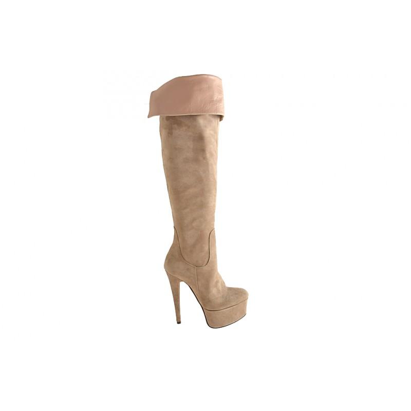 Bottes genoux avec fermeture éclair et plate-forme en suède sable - Pointures disponibles:  42