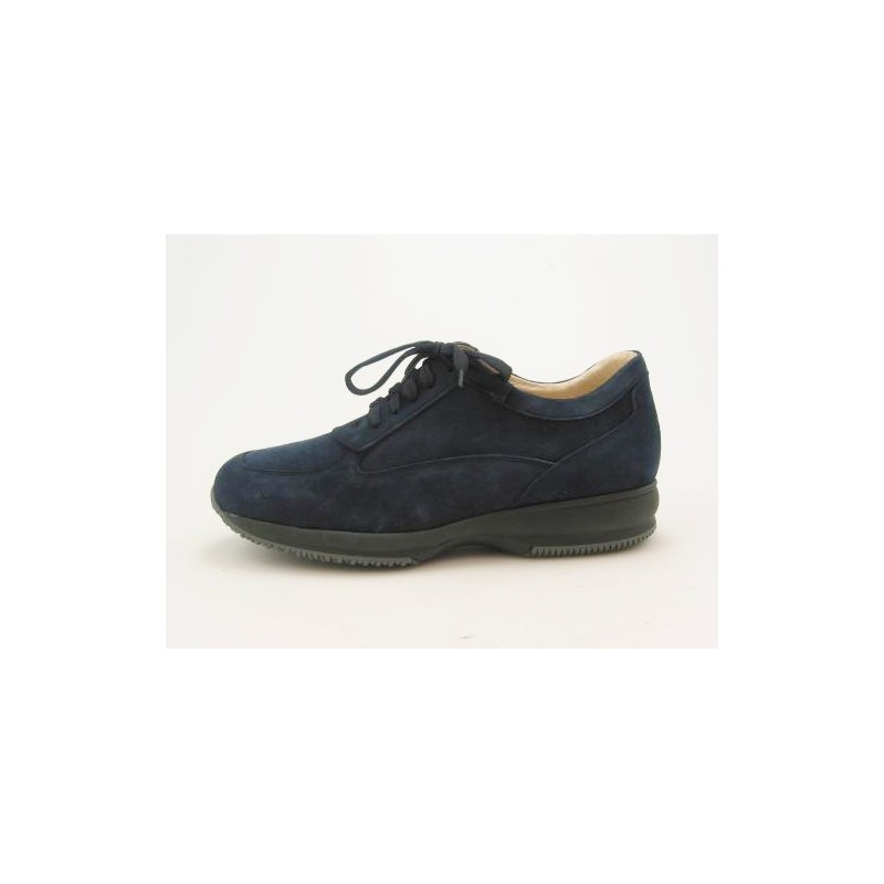 Zapato deportivo con cordones para hombre en gamuza de color azul oscuro - Tallas disponibles:  46