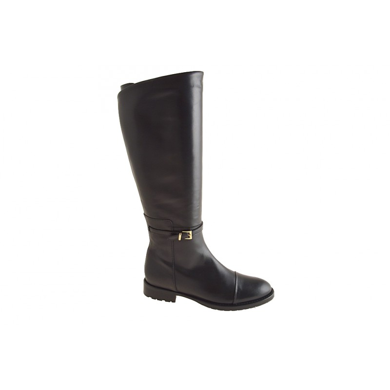Woman's boot with zipper and buckle in black leather heel 3 - Available sizes:  32