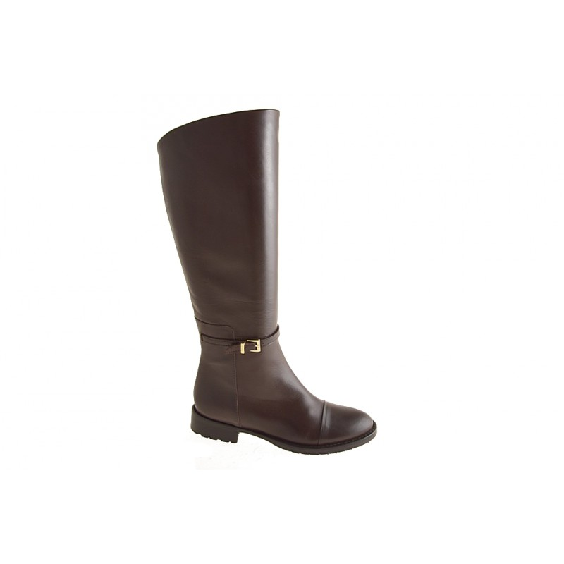 Boot with zipper in brown leather - Available sizes:  32