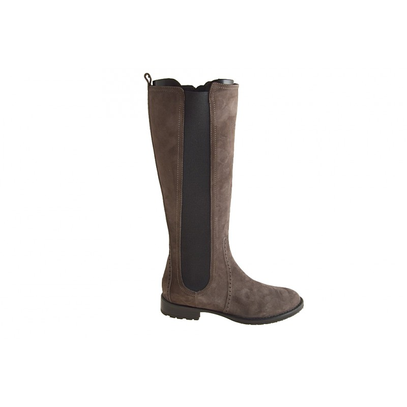 Boot with zipper and elastic in taupe suede - Available sizes:  32
