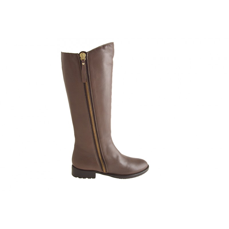 Woman's boot with zipper in taupe brown leather heel 2 - Available sizes:  32