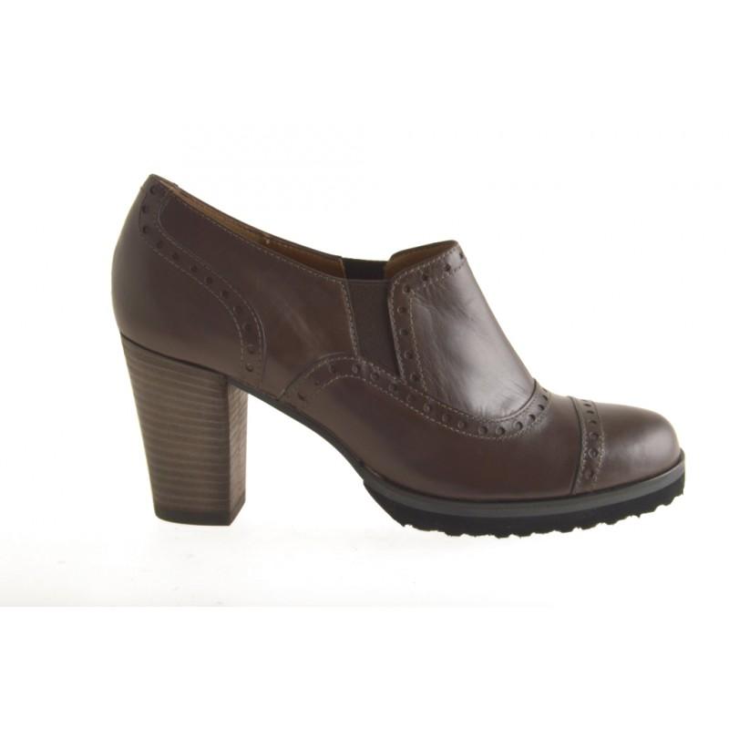 Haute chaussures fermées à la cheville en cuir marron - Pointures disponibles:  42