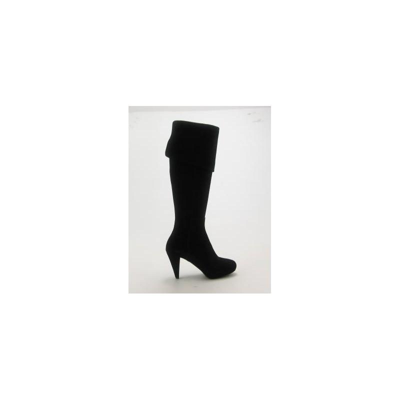Bottes pour femmes avec plateforme et revers en daim noir talon 9 - Pointures disponibles:  32