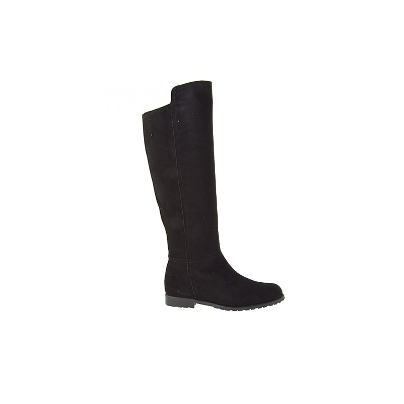 Woman's boot with zipper in black suede heel 2 - Available sizes:  32