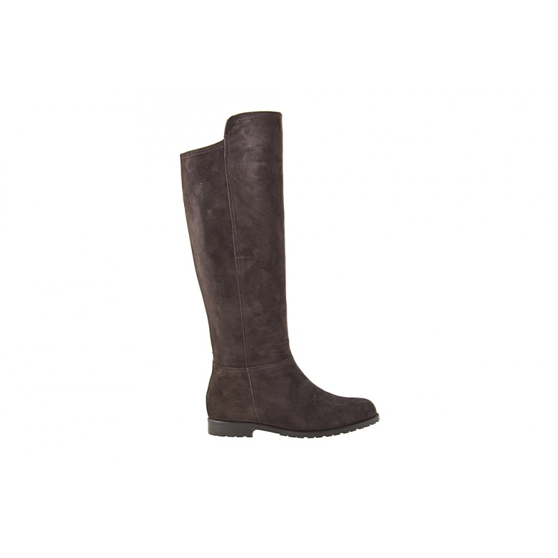 Woman's boot with zipper in dark brown suede heel 2 - Available sizes:  32