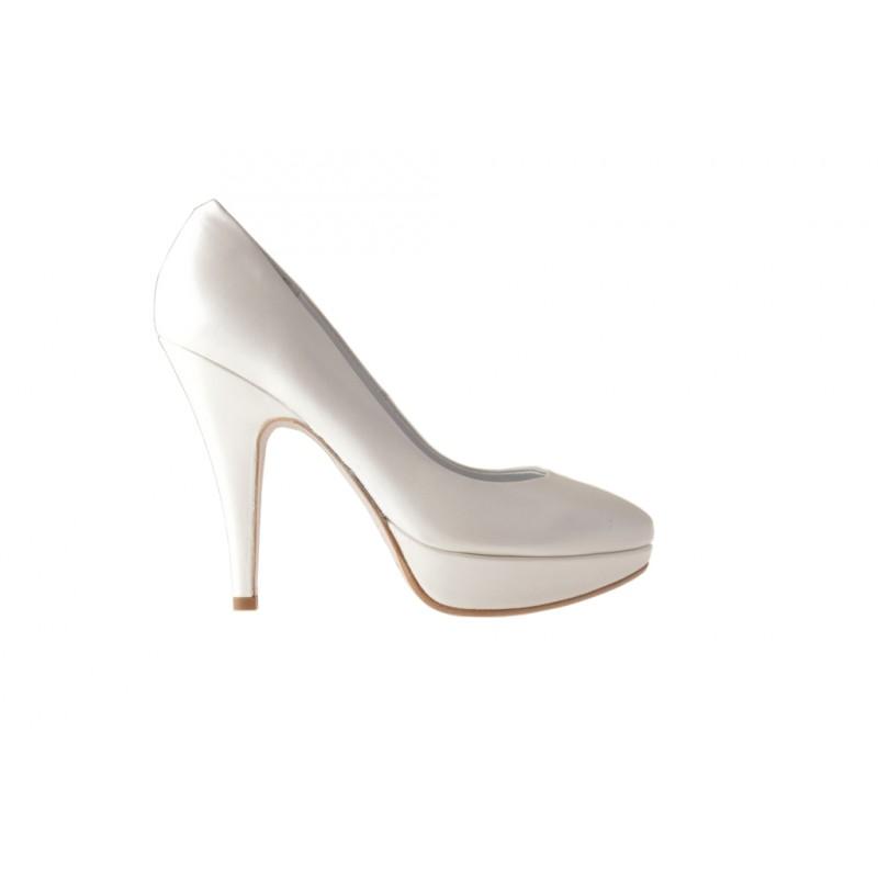 Escarpin avc plate-forme en cuir ivoire perlé avec talon 11 - Pointures disponibles:  44, 45