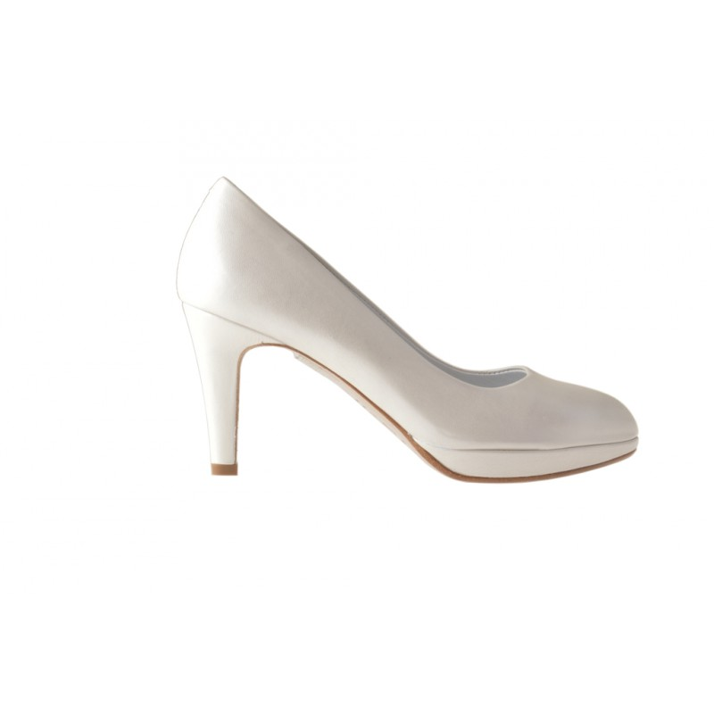 Escarpin avec plateforme en cuir ivoire perlé talon 8 - Pointures disponibles:  31, 46
