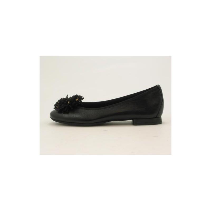 Ballerine en cuir noir fleur - Pointures disponibles:  32