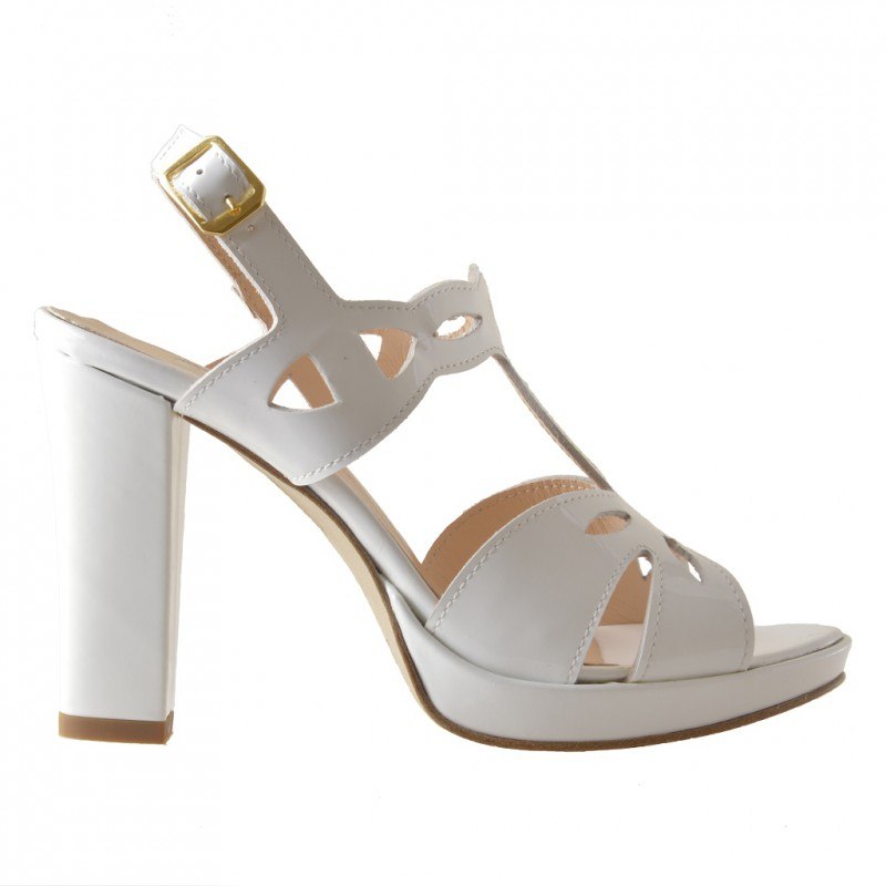 Platform sandal in white patent leather - Available sizes:  42