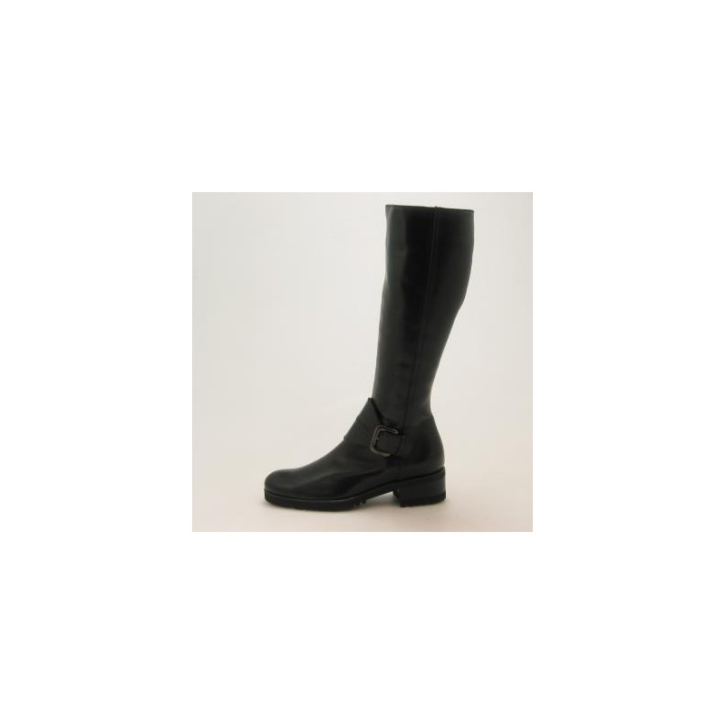 Woman's boot with zipper and buckle in black leather heel 3 - Available sizes:  31
