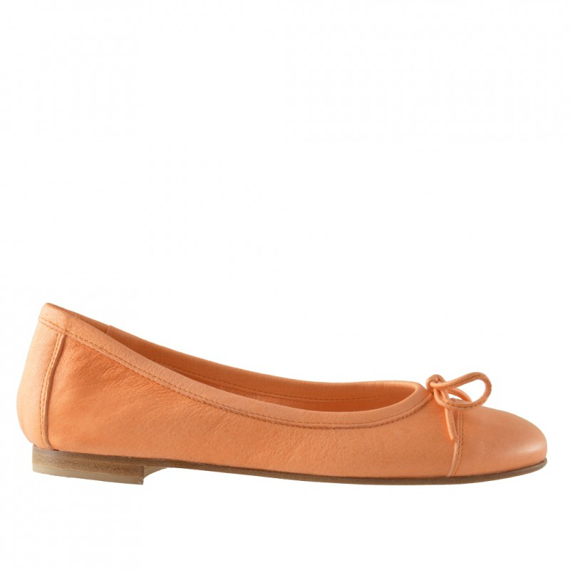 Ballerina with bow in orange leather - Available sizes: 32
