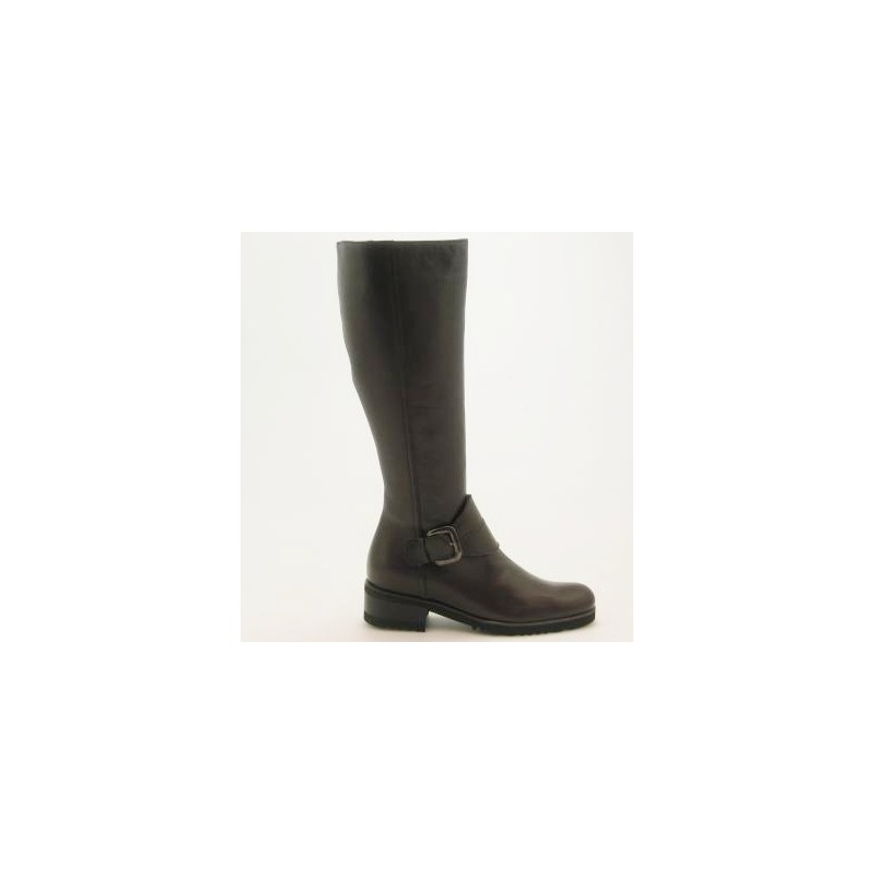 Boot with zipper and buckle in brown leather - Available sizes:  31