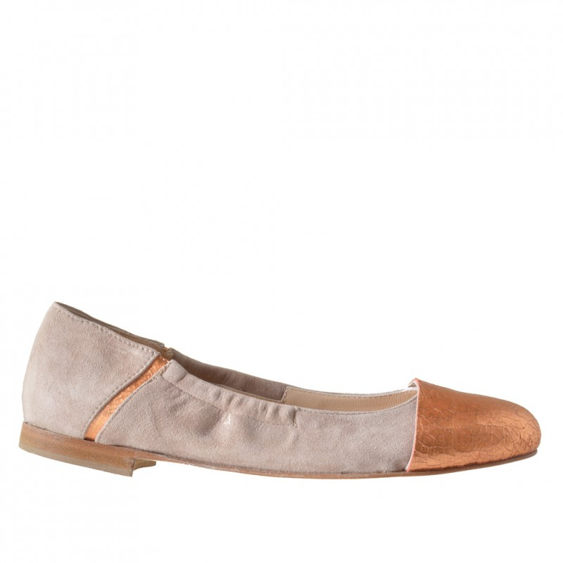 Woman's ballerina with elastic band in beige suede and copper printed leather heel 1 - Available sizes:  32