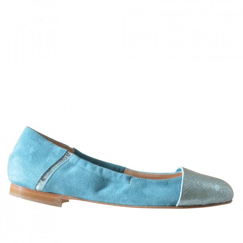 Bailarina para mujer con elastico en gamuza y piel imprimida azul claro tacon 1 - Tallas disponibles:  32