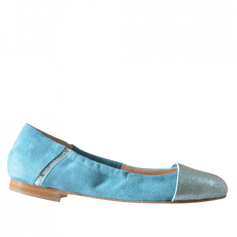 Woman's ballerina with elastic band in light blue suede and printed leather heel 1 - Available sizes:  32