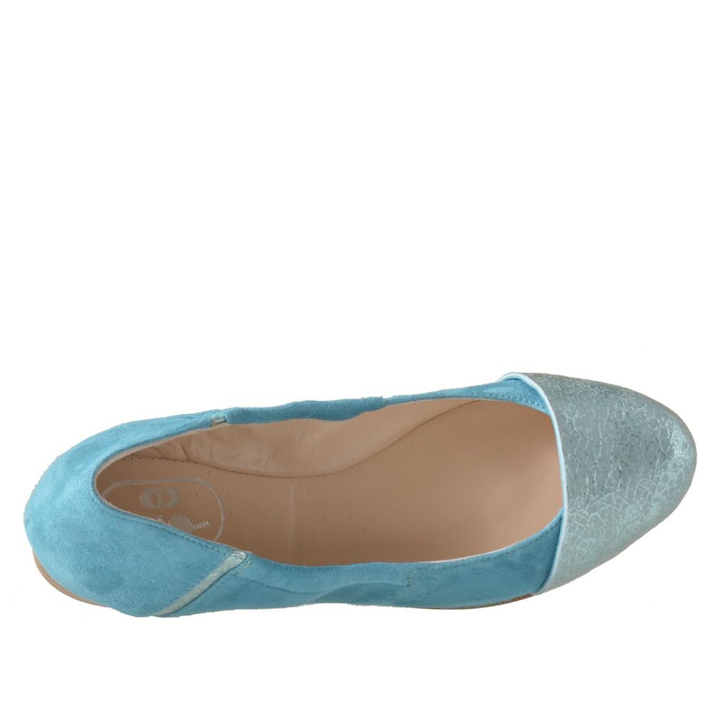 ballerine pour femmes avec elastique en daim et cuir imprim bleu clair talon 1 ghigocalzature. Black Bedroom Furniture Sets. Home Design Ideas