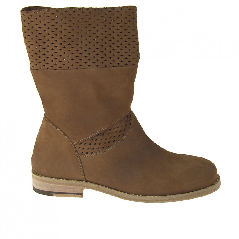 Ankle boot in tan nubuck and pierced nubuck leather heel 2 - Available sizes:  32