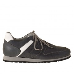 Mens' laced sports shoe in blue and white leather - Available sizes:  37