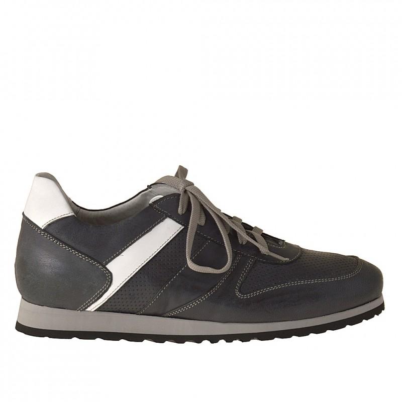 Sport chaussures avec lacets en cuir bleu foncé et blanc - Pointures disponibles:  37