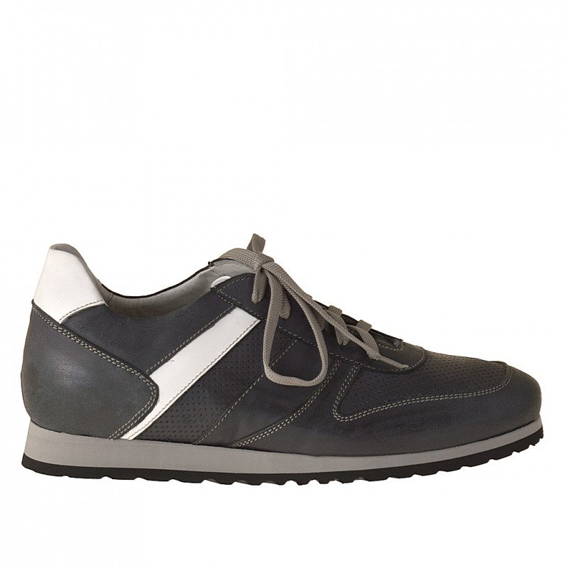 Sportshoe with laces in dark blue and white leather - Available sizes: 37