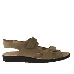 Sandalia con cierre de velcro en piel nabuk de color gris pardo - Tallas disponibles:  47