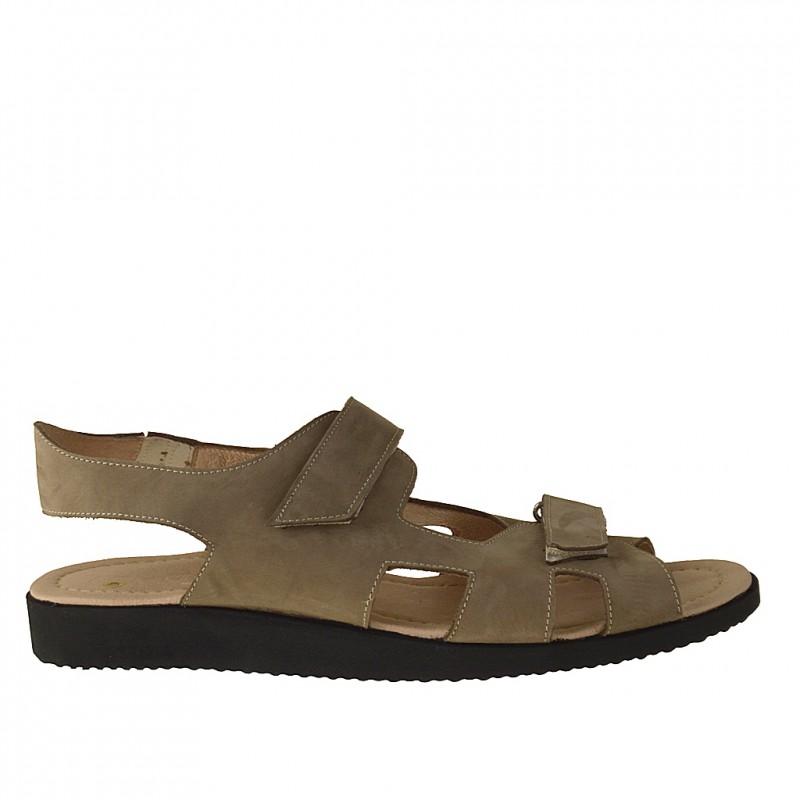Sandale pour hommes avec velcro en cuir nubuck taupe - Pointures disponibles:  47