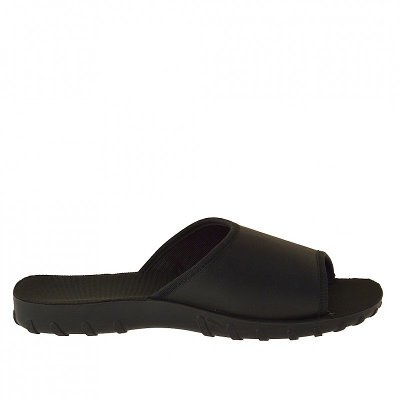 Men's slippers in black waterproof ecological material - Available sizes:  46