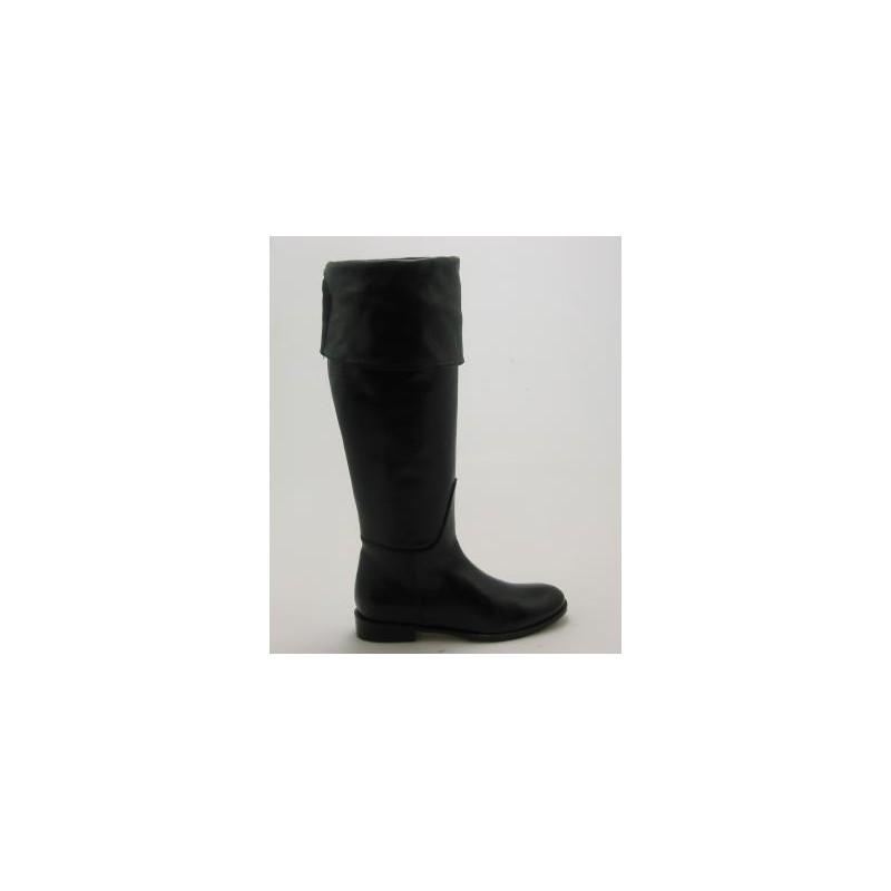 Bottes au genou avec fermeture éclair et revers en cuir noir talon 2 - Pointures disponibles:  31