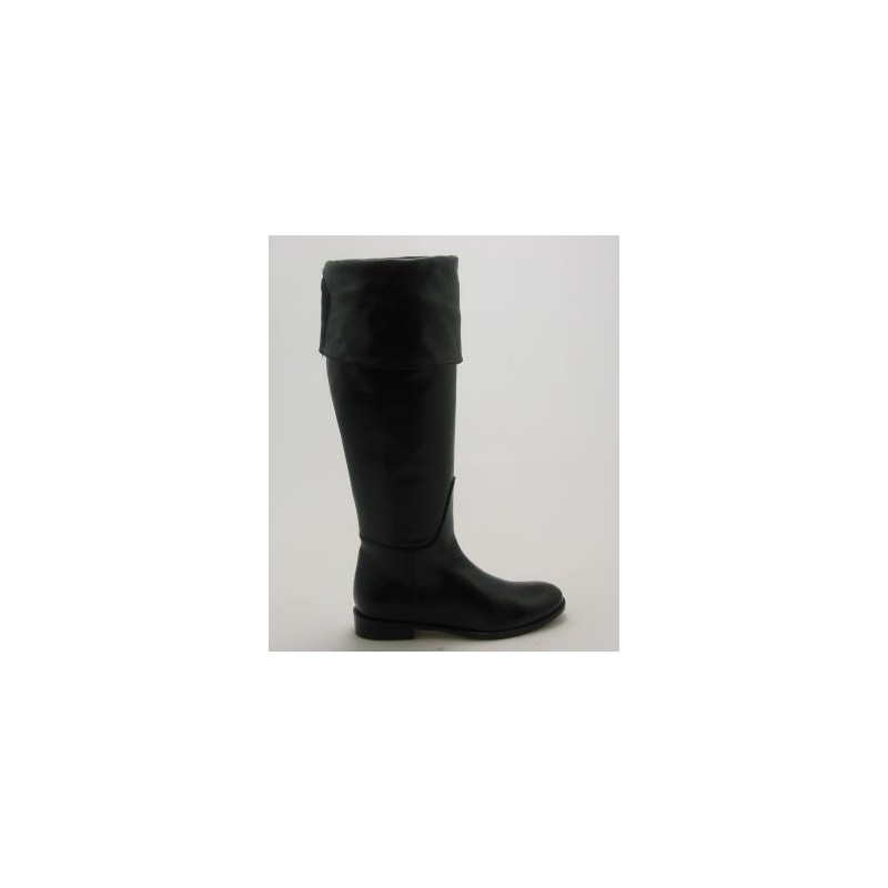 Woman's over-the-knee boot with turnover and zipper in black leather heel 2 - Available sizes:  31