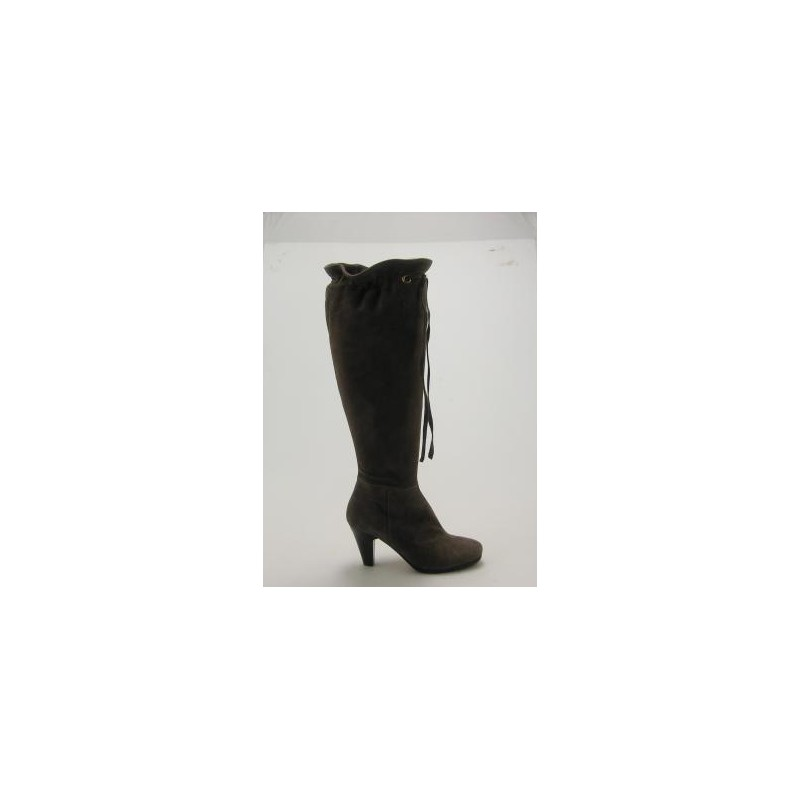 Knee-high boot with laces in taupe suede heel 8 - Available sizes:  31