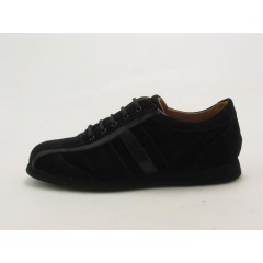 Men's sportshoe with laces in black suede - Available sizes:  36