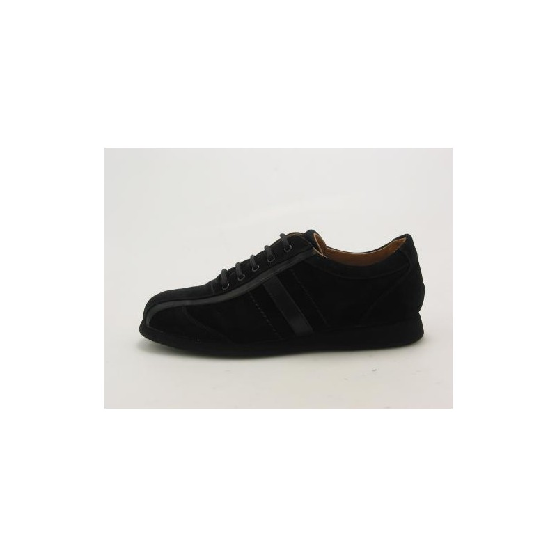 Men's sportshoe with laces in black suede - Available sizes:  36, 37