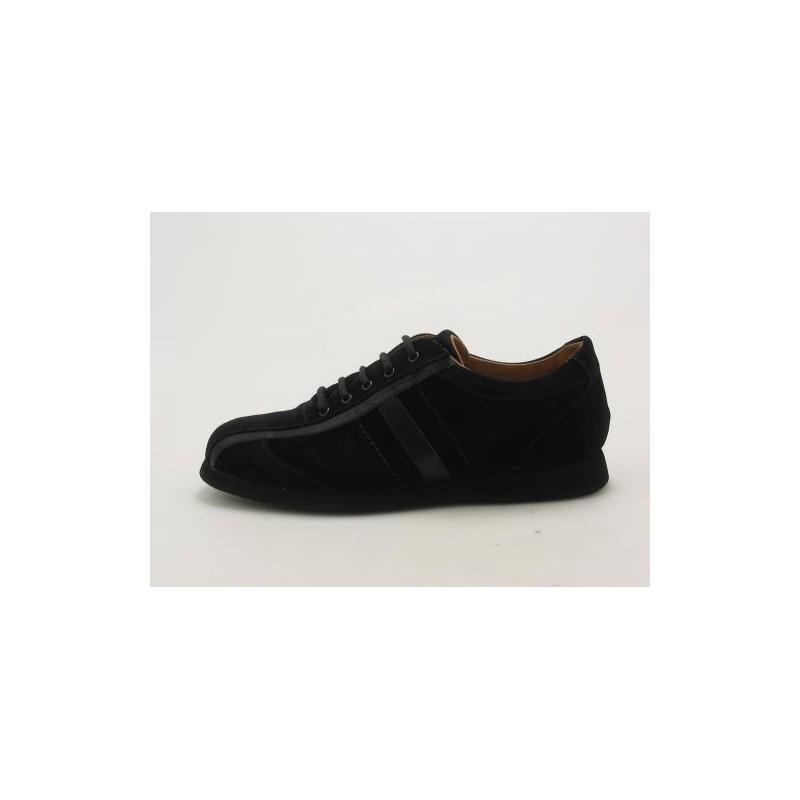 Zapato deportivo con cordones para hombres en gamuza negra - Tallas disponibles:  36