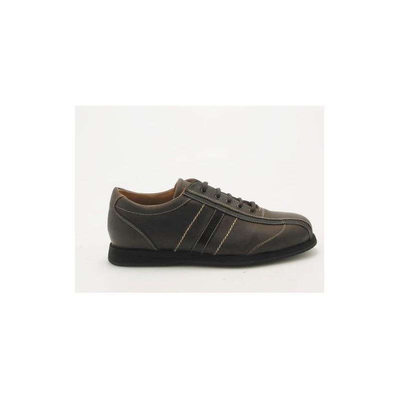 Chaussure sportif à lacets pour hommes en cuir marron - Pointures disponibles:  36