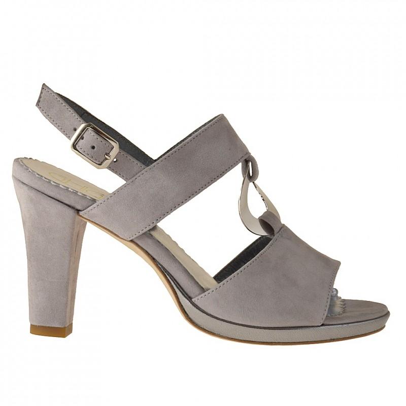 Confortable plateforme sandale en daim gris et argent - Pointures disponibles:  42