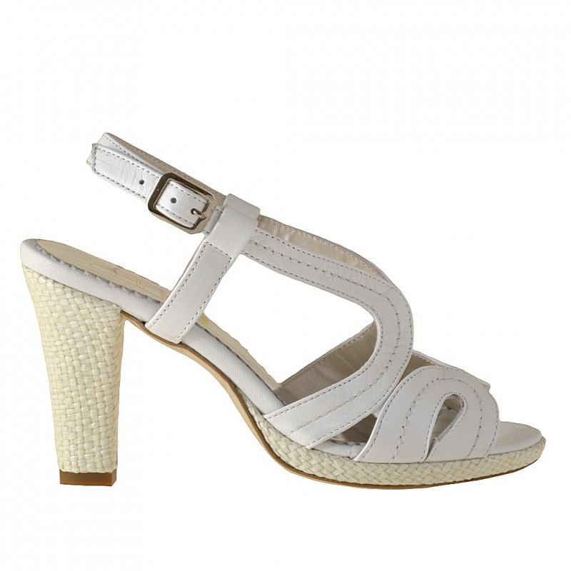 Comfortable platform sandal in white leather - Available sizes:  42