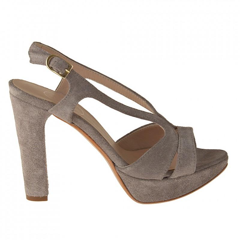 Bandes plateforme sandale en daim taupe - Pointures disponibles:  42