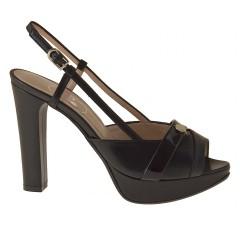 Sandalo plateau in pelle+vernice nero - Misure disponibili: 31