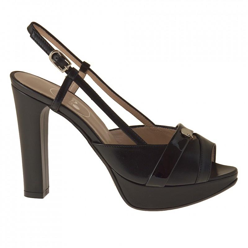 Sandale avec plateforme en cuir et cuir verni noir talon 10 - Pointures disponibles:  31