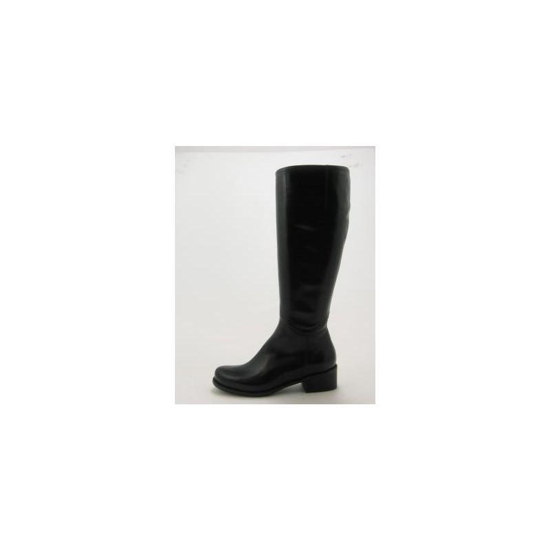 Bottes pour femmes avec fermeture éclair en cuir noir talon 3 - Pointures disponibles:  31