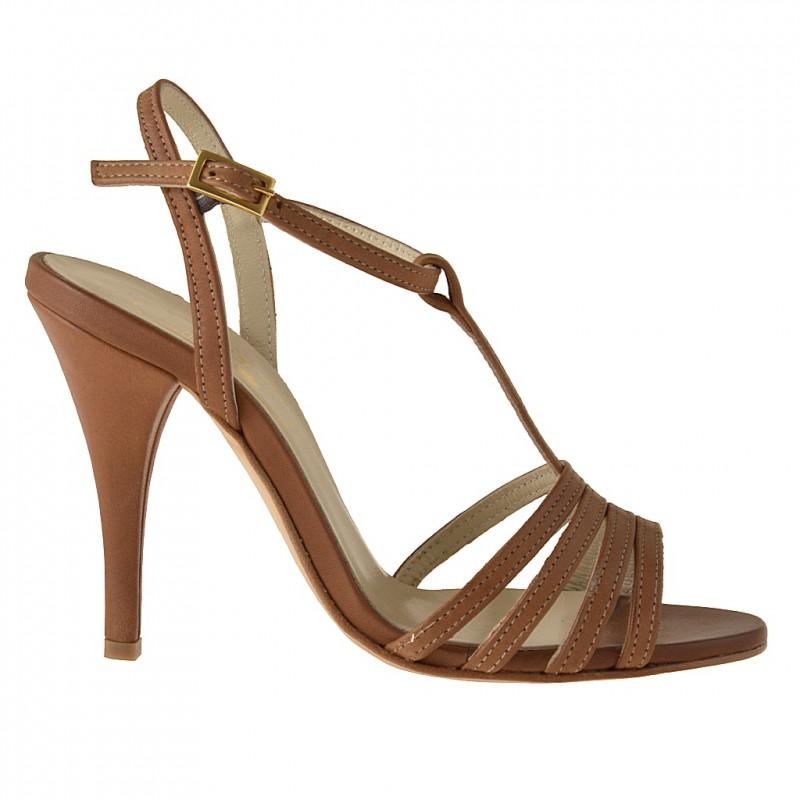 Sandalia de tiras en piel de color cuero - Tallas disponibles:  42