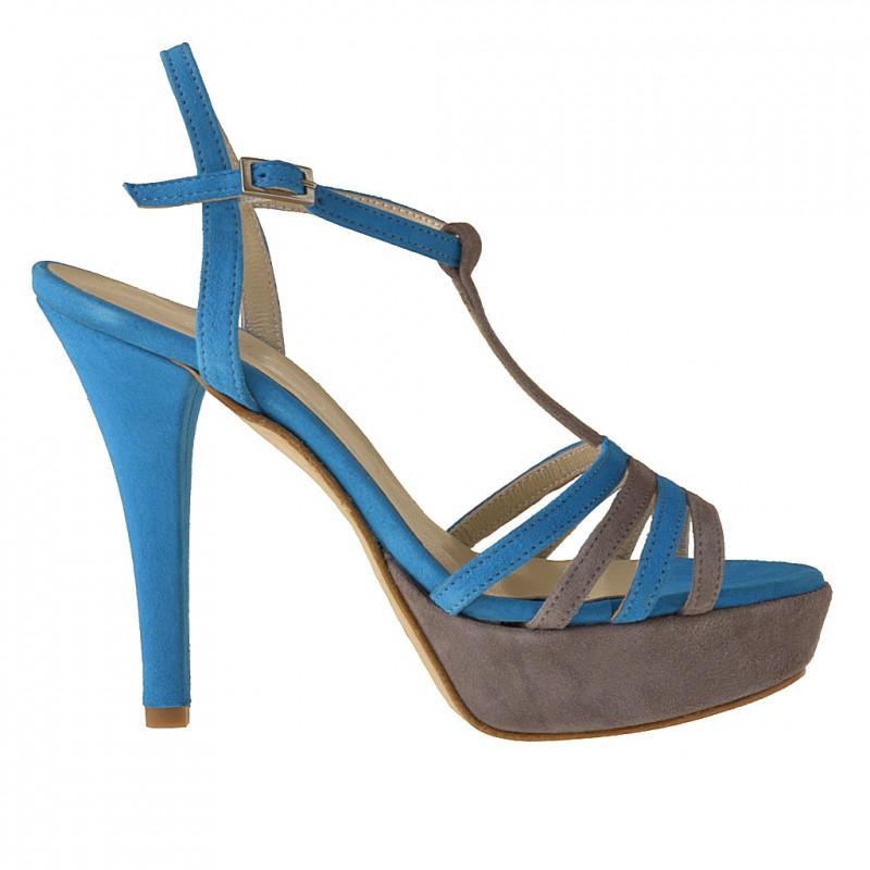 Sandale avec plateforme et courroie en daim bleu et gris talon 11 - Pointures disponibles:  42