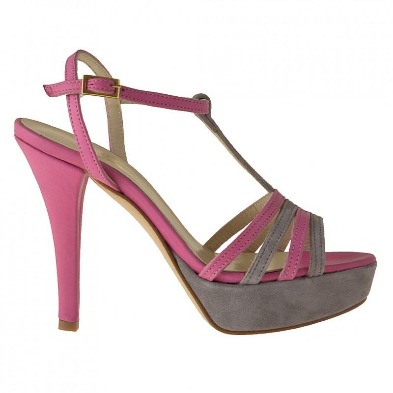 Sandale avec plateforme et courroie en cuir fuchsia et daim gris talon 11 - Pointures disponibles:  42
