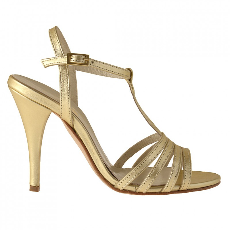 Bande sandale en cuir platine - Pointures disponibles:  42