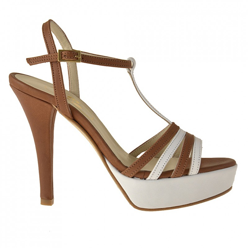 strips platform sandal in white and tan leather - Available sizes:  42