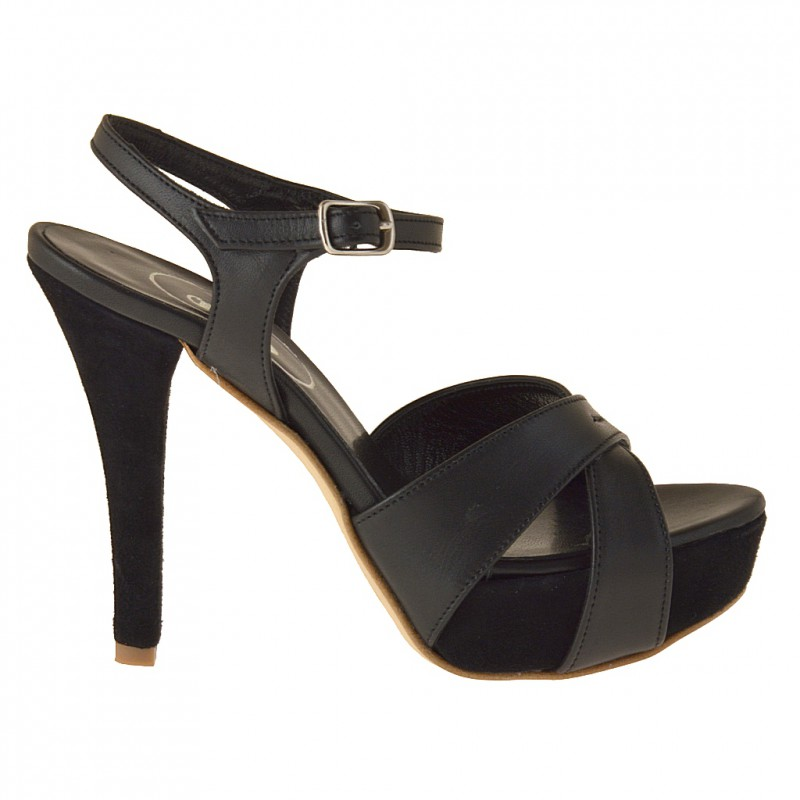 Platform sandal with ankle strap in black leather - Available sizes:  42