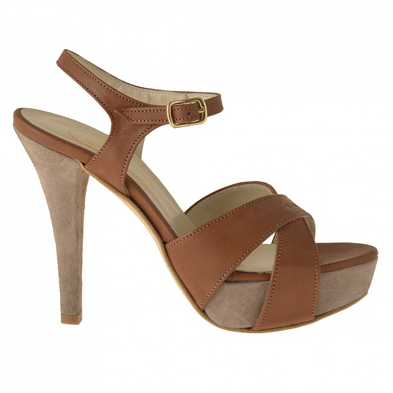 Platform sandal with ankle strap in tan leather and sand suede - Available sizes: 42