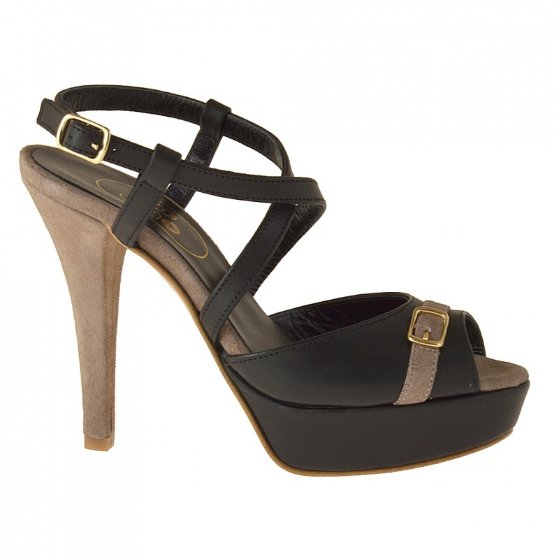 Platform sandal with crossed strap, in black leather and sand suede - Available sizes: 42