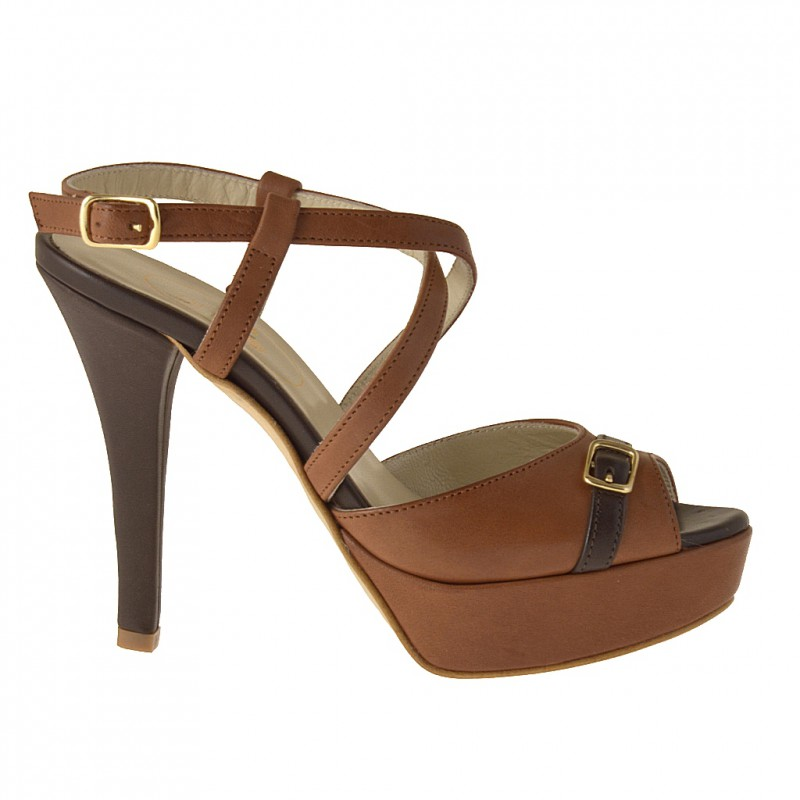 Platform sandal with crosses strap in tan and brown leather - Available sizes:  42